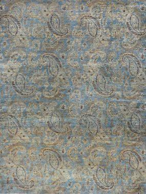 Handgemaakt exclusief wollen tapijt Pashmina in blauw en beige. Verkrijgbaar in: Tilburg Eindhoven Didam Hoogeveen en Oldenzaal