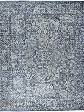 Handgeknoopt beige blauw vintage karpet Amaze Maluk staat mooi in moderne woon of eetkamer. In Tilburg Den Bosch Breda verkrijgbaar