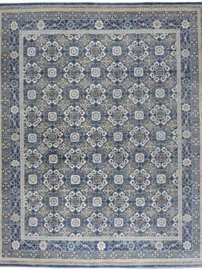 Handgeknoopt beige blauw vintage vloerkleed Antique R27 staat mooi in moderne woon of eetkamer. In Tilburg Hoogeveen Oldenzaal verkrijgbaar