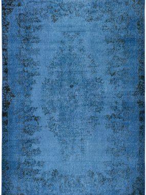 Handgeknoopt Patch vintage tapijt Adana blauw.
