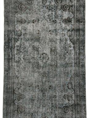 Diagonaal vintage wollen vloerkleed Adana licht blauw en zwart