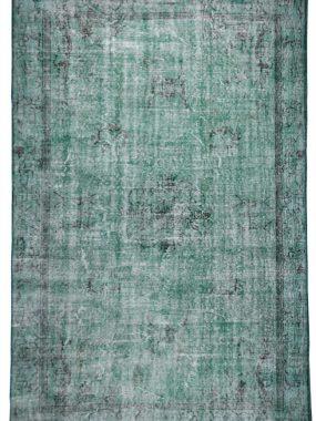Stoer vintage handgemaakt groen en zwart karpet Adana. Ideaal voor modern interieur. Bezoek de showrooms: Tilburg Didam Zoetermeer en Leiden