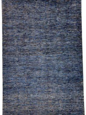 Wollen tapijt Bamyan 10 in blauw en grijs handgeknoopt Vintage dessin met strepen en vlakken. Te koop in Tilburg Didam en Hoogeveen