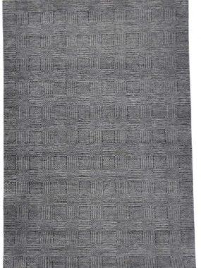grijs en beige handgeknoopt wollen vloerkleed Bamyan 10. Modern dessin met strepen en vlakken. Te koop in Tilburg Arnhem en Breda