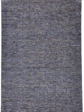 Wollen vloerkleed Bamyan 10 in blauw en grijs handgeknoopt Vintage dessin met strepen en vlakken. Te koop in Tilburg Didam en Breda