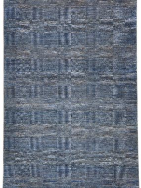 Blauw en beige handgeknoopt wollen tapijt Bamyan 8. Modern dessin met strepen en vlakken. Te koop in Breda Enschede en Tilburg