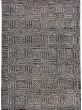Beige en grijs handgeknoopt wollen tapijt Bamyan 8. Modern dessin met strepen en vlakken. Te koop in Didam Doetinchem en Tilburg