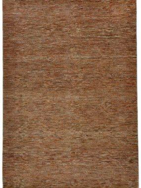 Oranje en grijs handgeknoopt wollen karpet Bamyan 8. Modern dessin met strepen en vlakken. Te koop in Tilburg Arnhem en Breda