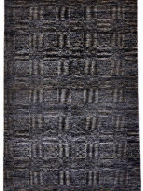 Zwart en grijs handgeknoopt wollen vloerkleed Bamyan 8. Modern dessin met strepen en vlakken. Te koop in Tilburg Voorschoten en Didam