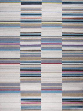Karpet Boston van wol met moderne lijnen in kleur blauw beige en rood. Te koop in Voorschoten Tilburg en Enschede.