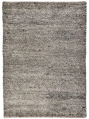 Hoogpolig zacht wollen grijs vloerkleed met hoge bolletjes of lussen. Past goed in modern woon of huiskamer. Te koop in Tilburg en Wolvega