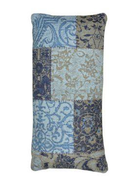 vintage patch kussen blauw