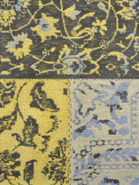 Grijs en geel Patchwork (vlakken) vintage karpet Dalyan met diverse maten. Winkels: Leiden Didam Tilburg en Oldenzaal