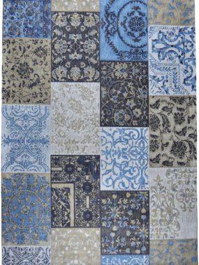 vloerkleed patch vintage blauw