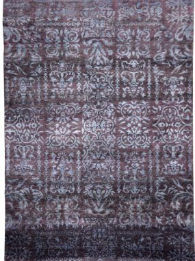 Handgemaakt exclusief vloerkleed Damask van groen en paarse wol. Maatwerk mogelijk en te koop in Arnhem Tilburg Zoetermeer en Tilburg