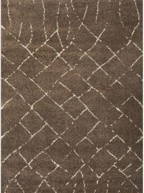 Bruin hoogpolig zacht frisé karpet Dirham Camel met witte lijn motief in vlakken. Goedkoop in Tilburg Arnhem Den Haag Hoogeveen en Enschede