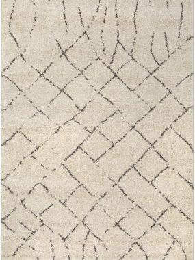 Wit hoogpolig zacht frisé vloerkleed Dirham Camel met bruin lijn motief in vlakken. Goedkoop in Tilburg Leiden Leiden Hoogeveen en Doetinchem