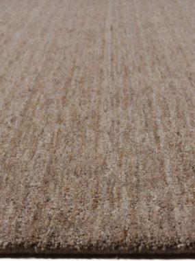 Handgemaakt wollen design tapijt Eco in bruin en beige.