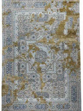 Vintage handgeknoopt wollen tapijt (grijs blauw en beige) wat te koop is in Tilburg Arnhem Breda en Heerenveen