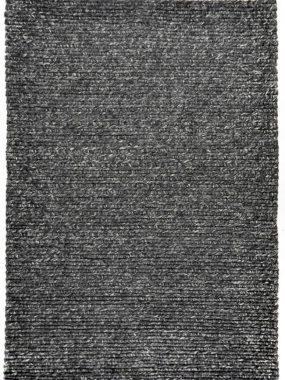 Zwart grijs modern handgeweven vloerkleed Havana met hoge grove wollen structuur.