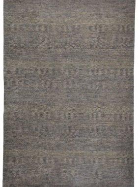 Illusion handgeknoopt vloerkleed met franjes in paars en grijs modern dessin. Mooi in huiskamer of zitkamer. Te koop in Tilburg Leiden en Wolvega