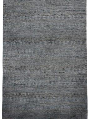 Illusion handgeknoopt karpet met franjes in groen bruin en grijs modern dessin. Mooi in huiskamer of zitkamer. Te koop in Tilburg Arnhem.