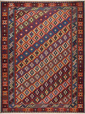Handgeknoopt Kelim tapijt in rood geel en blauw. Direct leverbaar bij Perez Tilburg.
