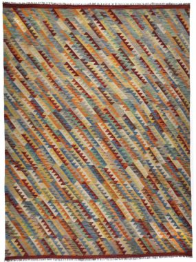 Handgeweven Kelim vloerkleed van wol en vintage dessin in kleur rood oranje en beige. Onze winkels: Den Bosch Tilburg en Eindhoven