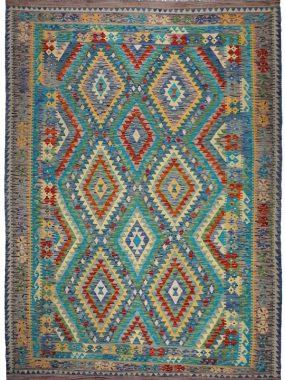 Handgeknoopt Kelim tapijt in de kleuren groen beige en rood. Het vloerkleed is direct leverbaar uit eigen voorraad Perez vloerkleden.