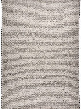 Wit en grijs karpet Lorenzo met grof wollen platweave constructie. Verkrijgbaar in: Tilburg Didam Arnhem Zoetermeer en Doetinchem