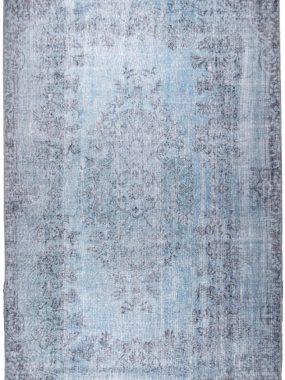 goedkoop blauw vloerkleed met vintage geprint dessin staat in ieder interieur mooi en verkrijgbaar in