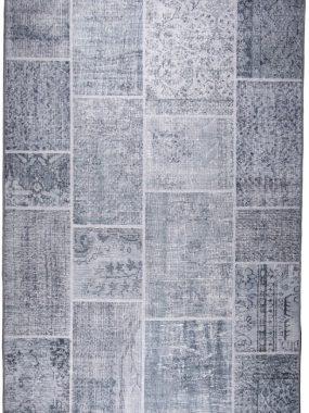 Goedkoop geprint vintage tapijten met grijs Patchwork dessin. Onze showrooms: Tilburg den Bosch Wolvega en Oldenzaal