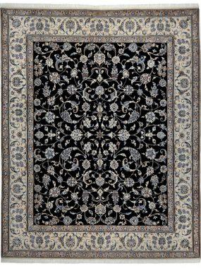Nain handgeknoopt tapijt donker blauw en beige. Verkrijgbaar bij Perez vloerkleden Tilburg