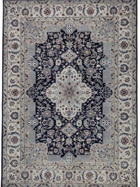 Handgeknoopt beige en blauw Perzisch vloerkleed Nain. Mooi in zowel een modern als klassiek interieur. Onze winkels: Tilburg Didam Oldenzaal