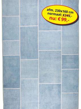 Sale actie aanbieding Novum blauw -vintage patch vloerkleed of tapijt- in diverse maten en kleuren. Verkrijgbaar bij Perez vloerkleden.
