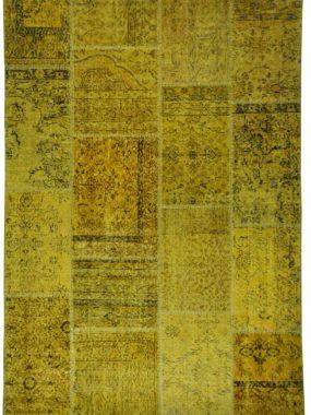 Geel oker Patch tapijt wat past in vintage interieur. Te koop in: Wolvega Eindhoven Tilburg Arnhem en Zoetermeer.