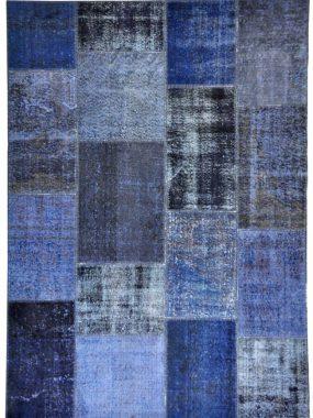 Vintage Patch tapijt / vloerkleed in blauw en grijs. Voor elk modern interieur. Te koop in: Tilburg Doetinchem Leiden Hoogeveen en Oldenzaal