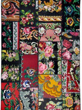 Kleurrijk Patch vloerkleed met bloemmotief wat goed past in modern interieur. Verkrijgbaar: Breda Wolvega Den Haag Tilburg en Arnhem