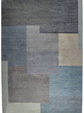 Handgeknoopt blauw vloerkleed Shalimar Bretty voor modern interieur. Onze winkels: Tilburg Didam Wolvega Oldenzaal en Voorschoten