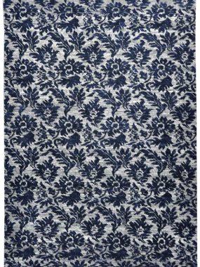 handgeknoopt vloerkleed Shalimar Callco in blauw en grijs