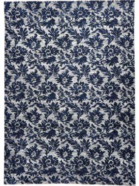 Blauw grijs tapijt Shalimar Callco met bloemenmotief. Past goed in modern interieur. Te koop in Didam Tilburg en Breda