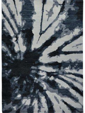 Modern handgeknoopt zwart en grijs tapijt of vloerkleed Shalimar flower. Verkrijgbaar in Eindhoven Hoogeveen Enschede en Den haag