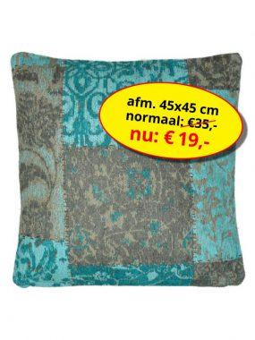 sale en scherpe aanbieding voor -vintage patch sierkussen- 45x45 cm Dalyan aqua