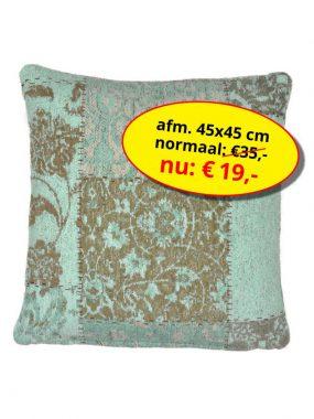 Sale aanbieding -goedkoop vintage patch sierkussen 45x45 cm- Dalyan. Leverbaar in diverse kleuren en maten, verkrijgbaar bij Perez vloerkleden.