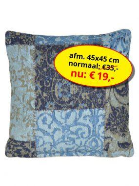 Sale aanbieding -goedkoop vintage patch sierkussen 45x45 cm- Dalyan blauw zwart. Leverbaar in diverse kleuren en maten, verkrijgbaar bij Perez vloerkleden.