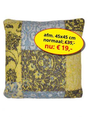 Sale aanbieding -goedkoop vintage patch sierkussen 45x45 cm- Dalyan geel bruin. Leverbaar in diverse kleuren en maten, verkrijgbaar bij Perez vloerkleden.