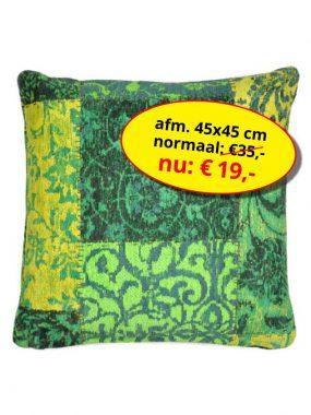 Sale aanbieding -goedkoop vintage patch sierkussen 45x45 cm- Dalyan groen geel. Leverbaar in diverse kleuren en maten, verkrijgbaar bij Perez vloerkleden.
