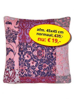 Sale aanbieding -goedkoop vintage patch sierkussen 45x45 cm- Dalyan rose paars. Leverbaar in diverse maten en kleuren, verkrijgbaar bij Perez vloerkleden.
