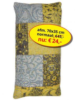 Sale aanbieding -goedkoop vintage patch sierkussen 70x35 cm- Dalyan oker. Leverbaar in diverse kleuren en maten en verkrijgbaar bij Perez vloerkleden.