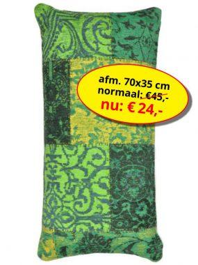 Sale aanbieding -vintage patch goedkoop sierkussen 70x35 cm- Dalyan groen geel. Leverbaar in diverse kleuren en maten en verkrijgbaar bij Perez vloerkleden.